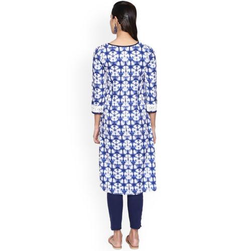 Naari Women Blue Printed Straight Kurta