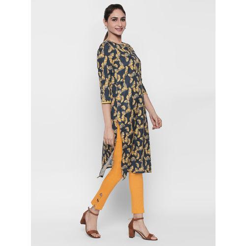 Naari Women Blue & Yellow Printed Straight Kurta