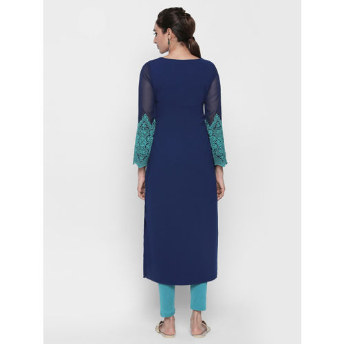 Naari Women Blue Solid Straight Kurta