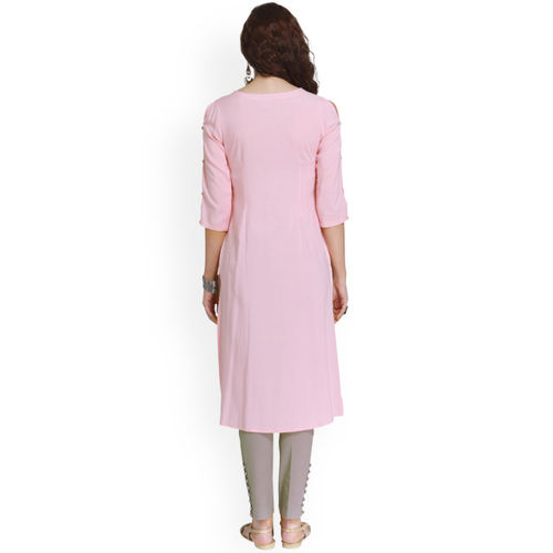 Naari Women Pink Printed Straight Kurta