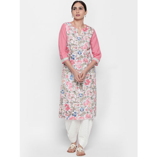 Naari Women Pink & White Printed Straight Kurta
