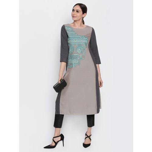 Naari NAARI Women Grey Embroidered Kurta