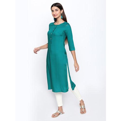 Naari Women Green Solid Straight Kurta