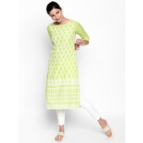 Naari Women Green Printed Straight Kurta