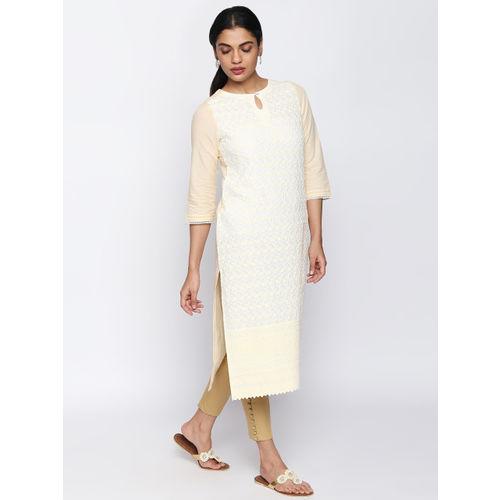 Naari Women Beige Embroidered Straight Kurta