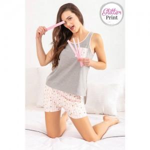 Zivame Happy-Go-Sleepy Top N Shorts Set - Pink N Print