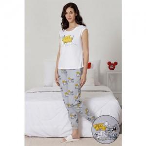 Zivame X Disney Mickey N Friends Top N Pyjama - Grey N White