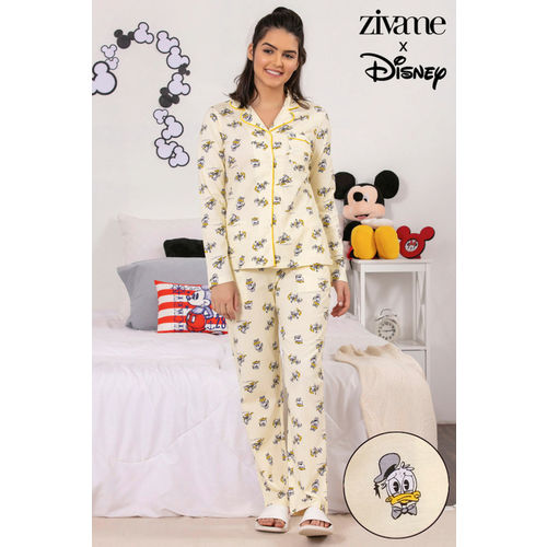 Zivame X Disney Donald Duck Top N Pyjama Set - Yellow N Print