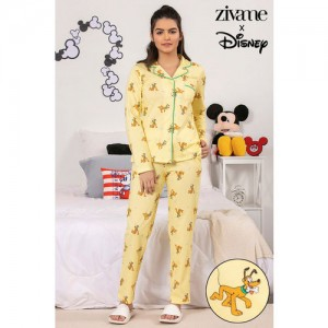Zivame X Disney Pluto Top N Pyjama Set - Yellow N Print