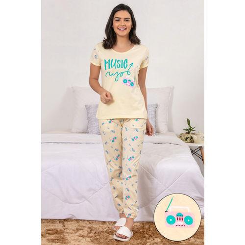 e3d1dcf4b Buy Zivame Retro Gadgets Sleep Top N Pyjama Set- Yellow N Print ...