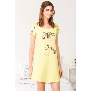 Zivame Coffee Times Sleep Nighty - Yellow N Print