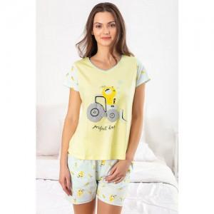 Zivame Crazy Farm Sleep Top N Shorts Set- Yellow N Print