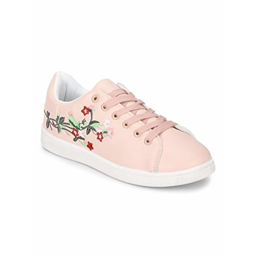 TRUFFLE COLLECTION Blush PU Embroidered Lace-up Sneakers