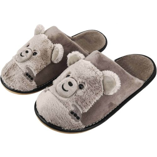 cda419c2e0f IRSOE IRSOE Women Bear Velvet Anti-slip Soft Bottom Wool Slip-On Indoor