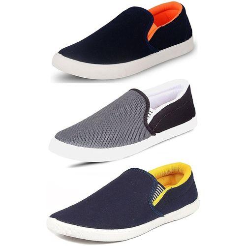 World Wear Footwear Combo-(3)-486-489-488 Slip On Sneakers For Men(Blue)