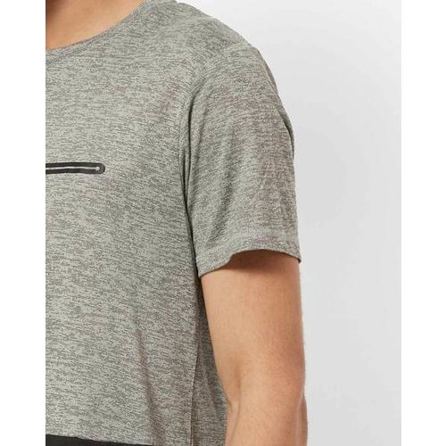 Proline Active Grey Self Design Round Neck T-shirt