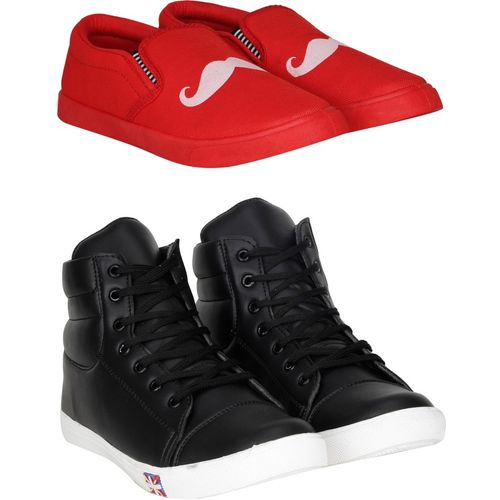 Kraasa Combos of 2 Casual sneakers Sneakers For Men(Red, Black)