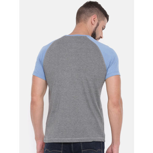 Proline Men Grey Printed Round Neck T-shirt