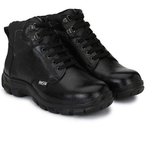 Manslam Genuine Leather Safety Shoe with Steel Toe Boots For Men(Black)