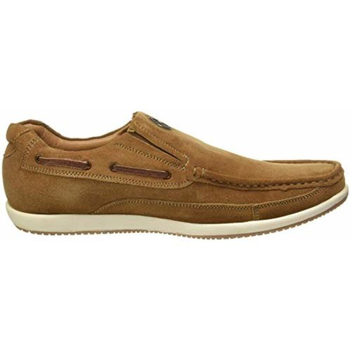 Red Chief Brown Genuine Leather Slip On Sneakers