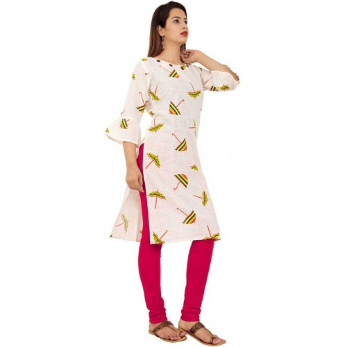 Tara White Cotton Casual Printed Kurti