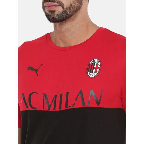 Puma Men Black & Red Colourblocked AC Milan Fanwear dryCELL Round Neck Football T-shirt