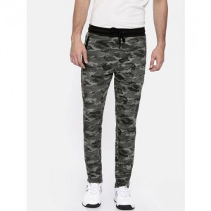 Proline Camo Joggers - Men's Black & Grey Stylish Track Pants in Rich Cotton Knit Fabric, with All Over Camo Print & Side Pockets for Trendy Urban & Casual Wear