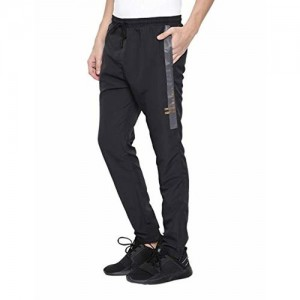 Proline Mens Black Slim Fit Woven Track Pant with Side Seam Metallic Print Detail