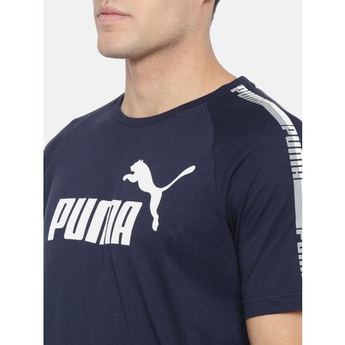 Puma Men Navy Blue Printed ELEVATED ESS Tape Logo T-shirt
