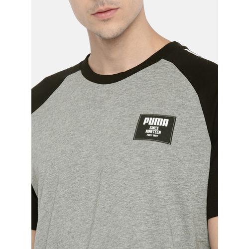 Puma Men Grey Solid Rebel Block T-shirt