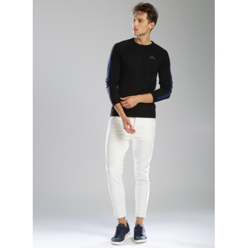 Kappa Black Cotton Solid Pullover