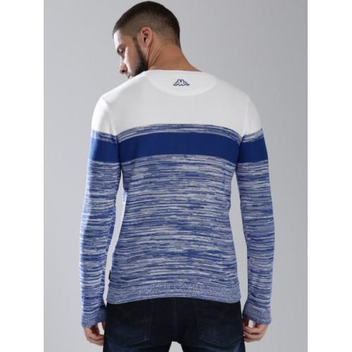 Kappa Men Blue & White Cotton Self-Design Pullover