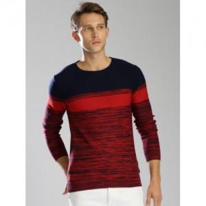 Kappa Men Red & Navy Blue Cotton Self-Design Pullover