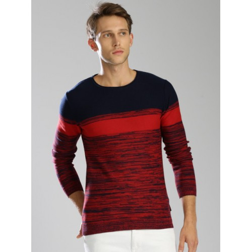 Kappa Men Red & Navy Blue Cotton Self-Design Pullover