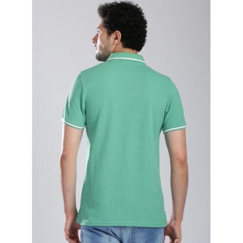 Kappa Green Cotton Solid Polo Collar T-Shirt
