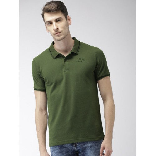 Kappa Men Olive Green Cotton Solid Polo Collar T-shirt