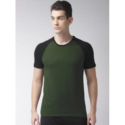 Kappa Men Olive Green Cotton Solid T-shirt