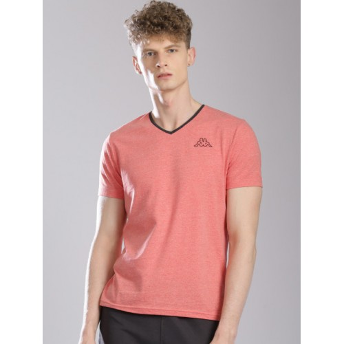 Kappa Red Cotton Solid V-Neck T-Shirt