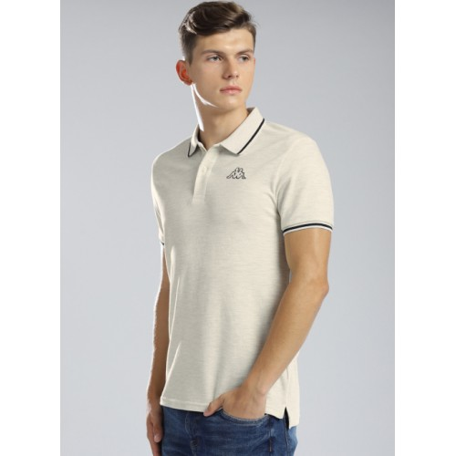 Kappa Off White Cotton Solid Regular Fit Polo T-Shirt