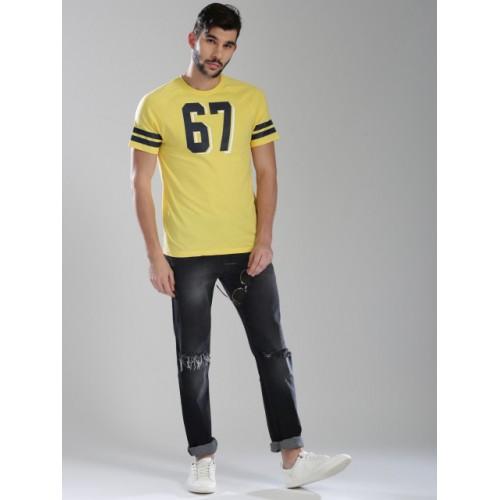 Kappa Yellow Cotton Printed Round Neck T-shirt
