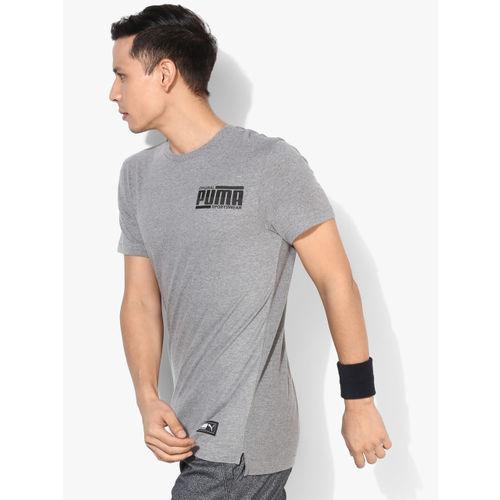 Puma Men Grey Athletics Elevated Slim Fit Printed Round Neck T-Shirt