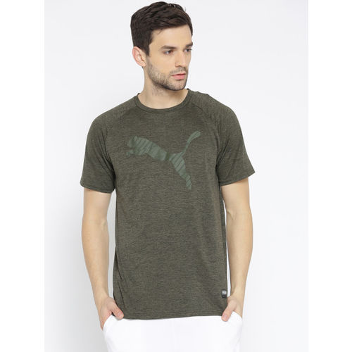 Puma Men Olive Green Printed A.C.E. Heather Cat T-shirt