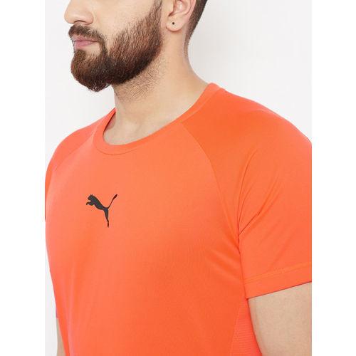 Puma Men Orange Solid Slim Fit Tec Sports T-shirt