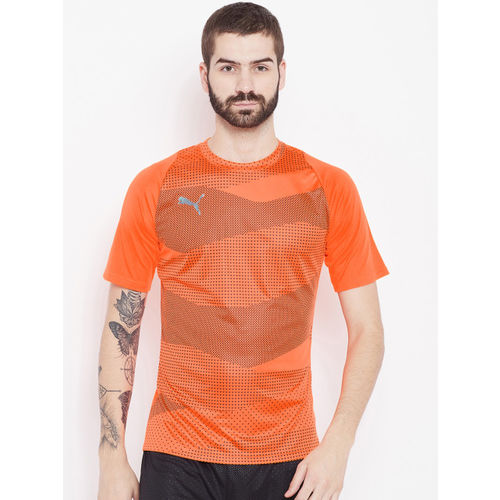 Puma Men Orange FTBLNXT Graphic Core Round Neck Football T-shirt