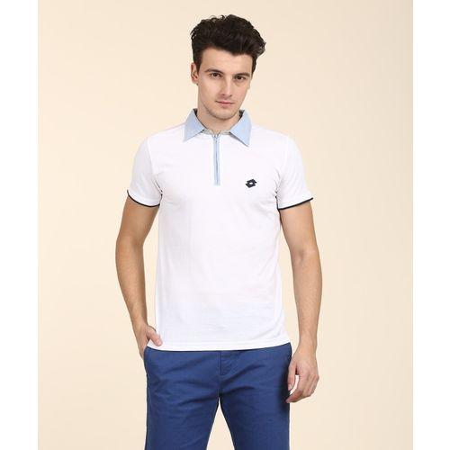 Lotto Solid Men's Polo Neck White T-Shirt