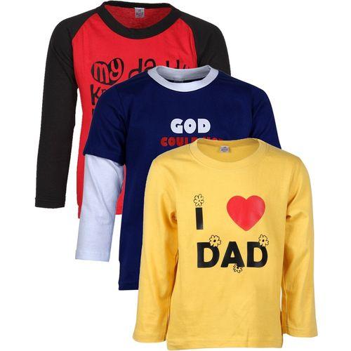 Gkidz Boys Printed Cotton T Shirt(Yellow, Pack of 3)