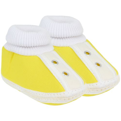 Neska Moda Baby Boys and Girls Stud Yellow Booties For 0 To 12 Months Infants SK185