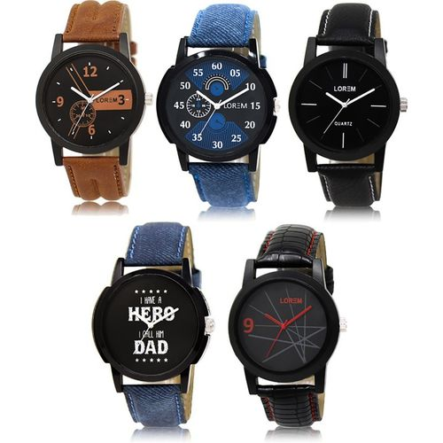 LOREM LK-1-2-5-7-8 Multicolor Designer pack of 5 Watch - For Men
