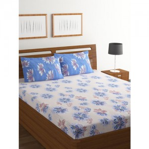 BOMBAY DYEING White & Blue Floral Flat 130 TC 1 King Bedsheet with 2 Pillow Covers