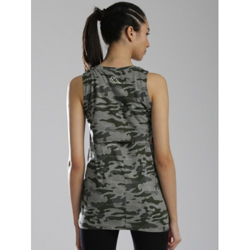 Kappa Olive Green Cotton  Printed Top